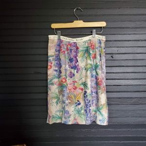 Anthropologie Floreat watercolor skirt floral prin